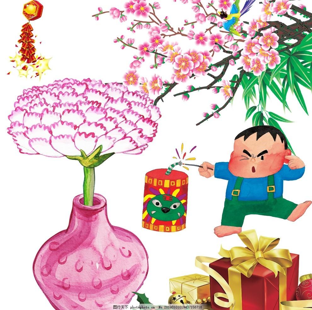 新年礼物 生日礼物 手绘 花朵 手绘花瓶 韩国手绘花朵 儿童 放鞭炮