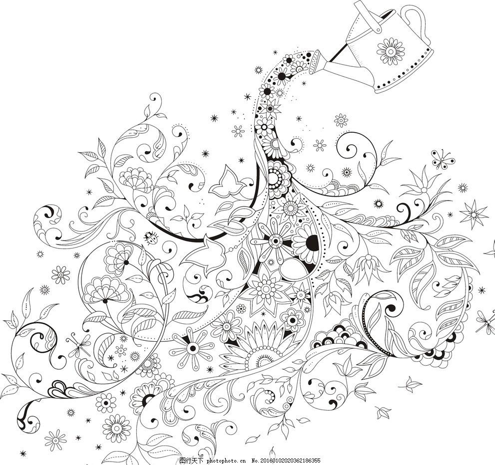 秘密花园线条画 矢量图 黑白 欧式图片