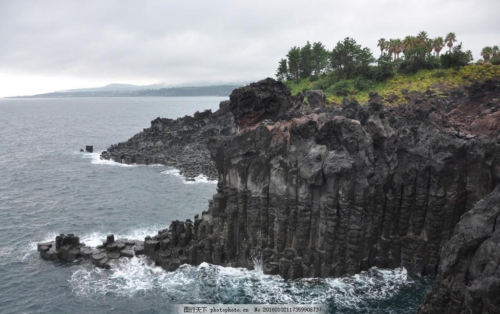 济州岛 韩国 大海 海浪 波涛汹涌 黑石头 火山石 旅游景点 摄影