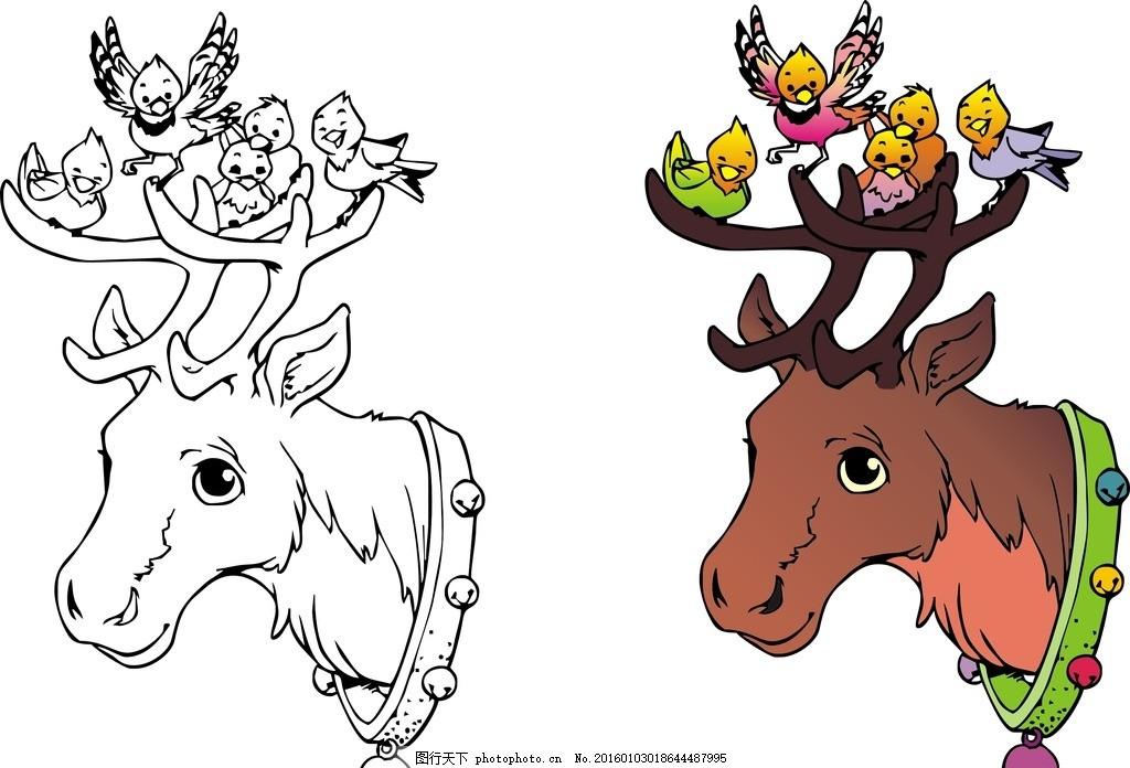 麋鹿 小鸟 圣诞 动物 卡通 简笔画 动漫动画 鹿角 铃铛 公仔 卡通类