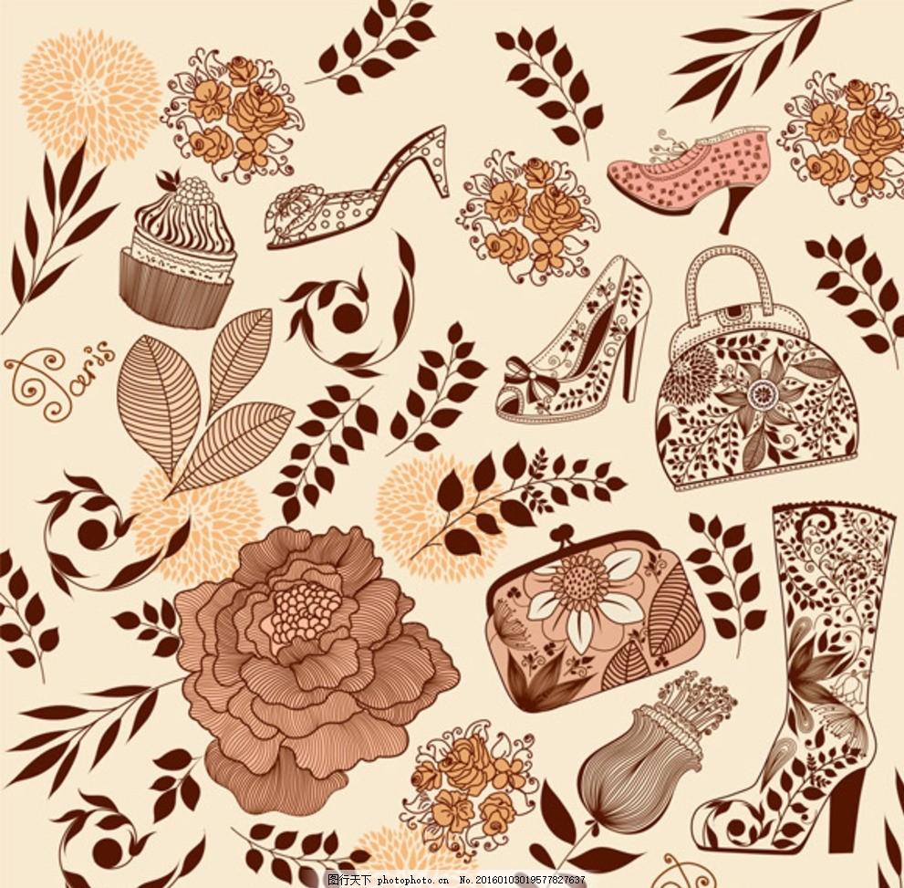 复古花纹 线描图案 花朵 叶子 高跟鞋 靴子 钱包