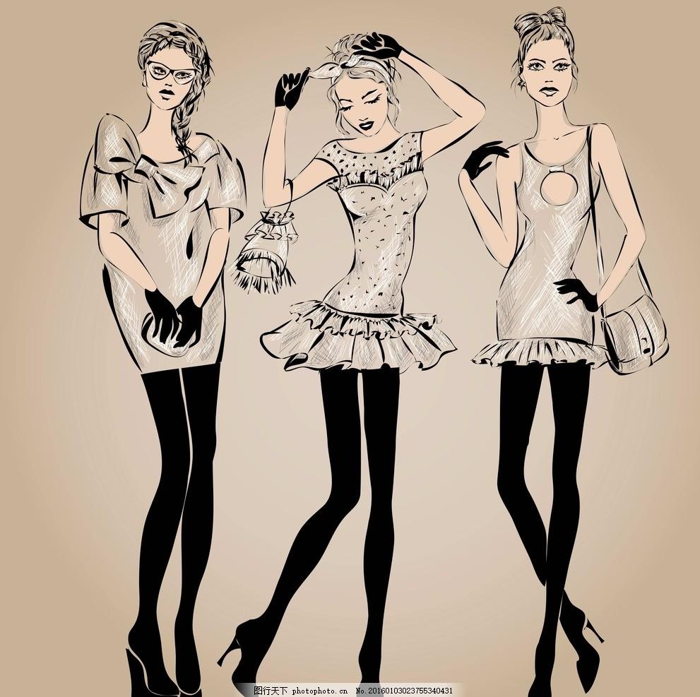 设计图库 人物图库 女性妇女  手绘少女 卡通女孩 女人 时尚美女 女