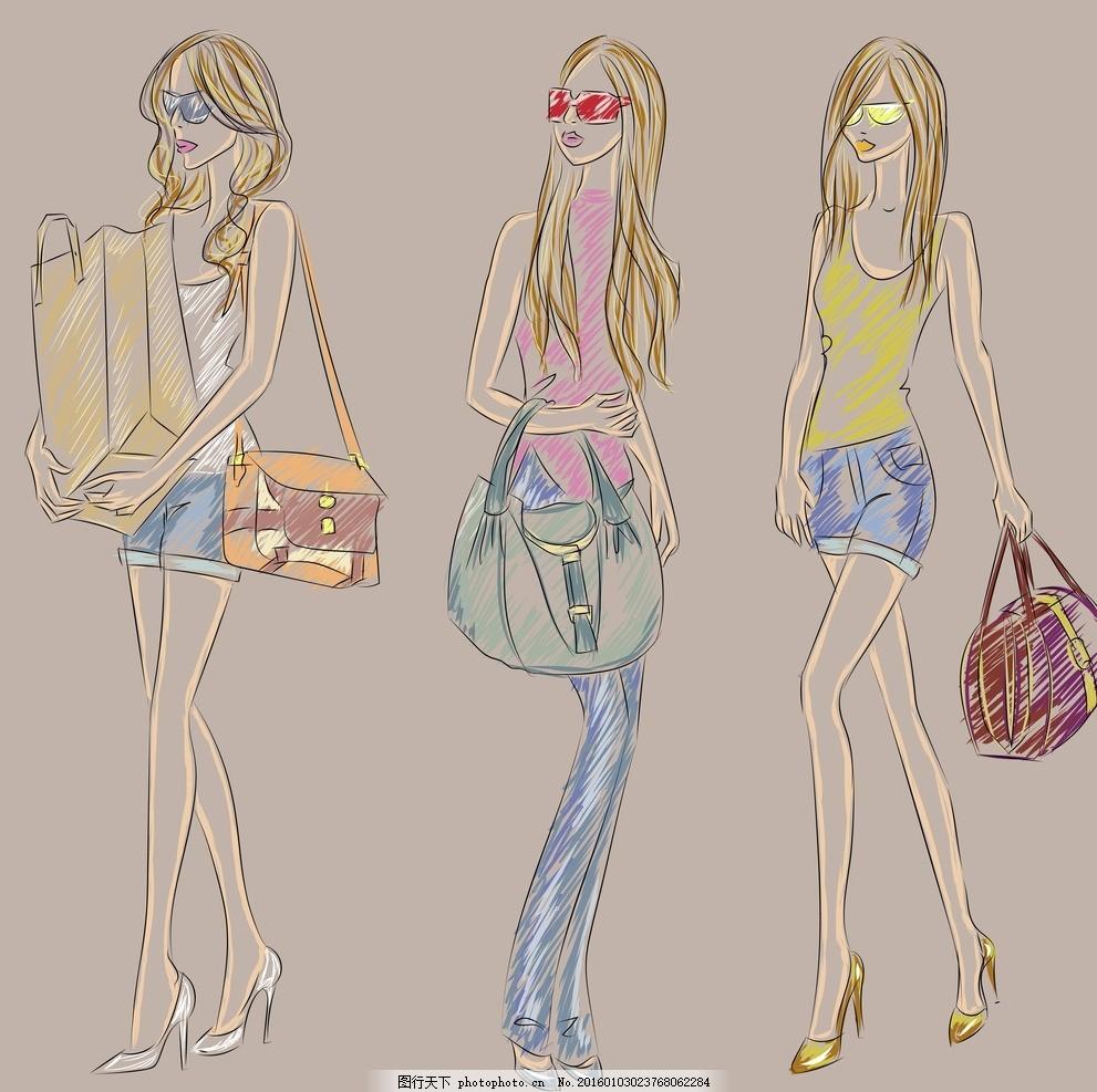 手绘少女 卡通女孩 女人 时尚美女 女性素描 模特 走秀 可爱女孩