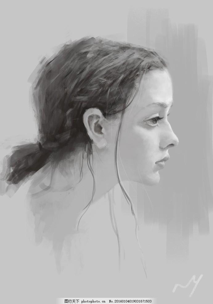 素描手绘国外美女