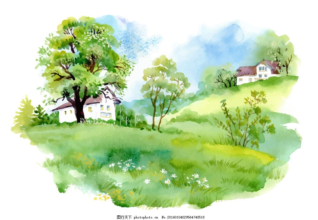 水彩风景画 风景水彩 水彩画 水彩 绘画 美术 自然 风景 风光 手绘