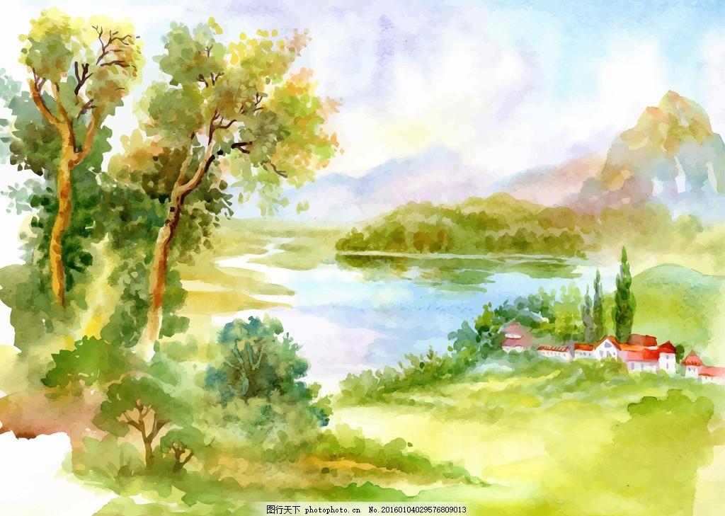风景水彩 水彩画 水彩 绘画 美术 自然 风景 风光 手绘 田园 湖畔