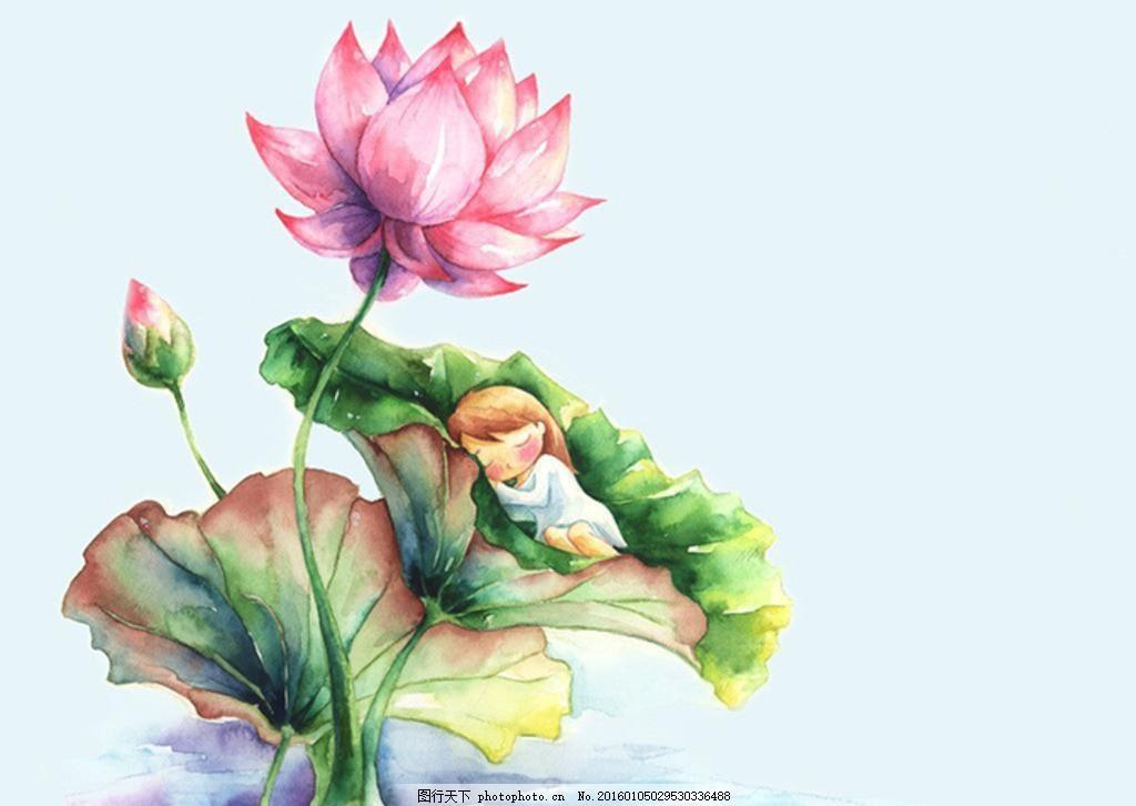 水彩手绘女孩 创意 插画 中国风 网页 海报