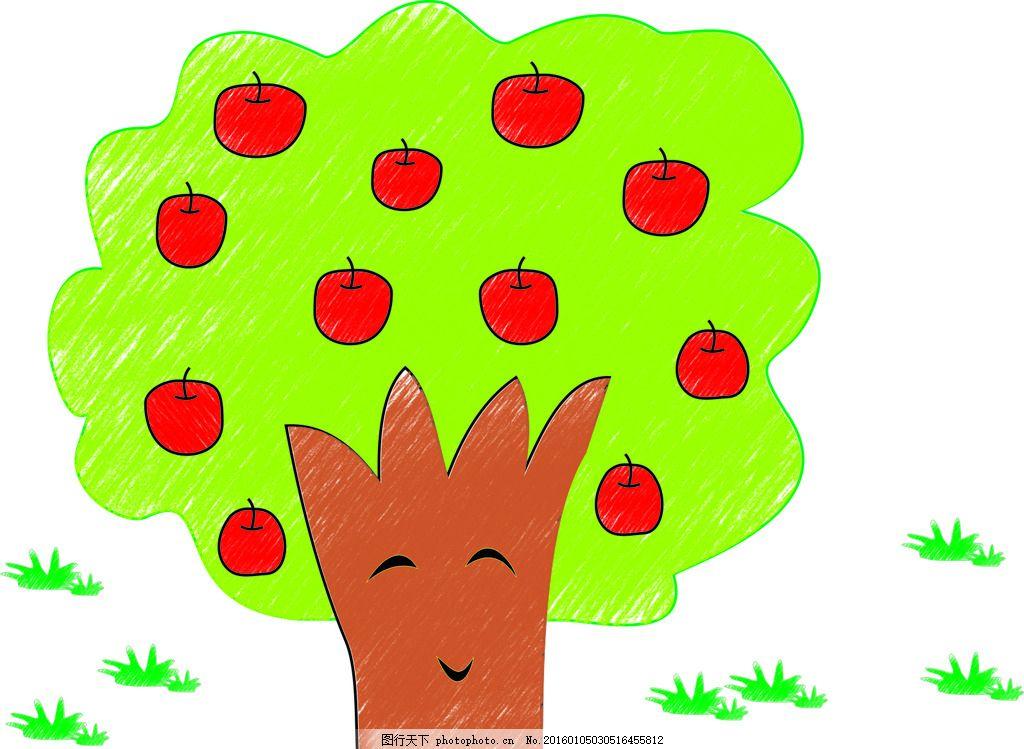 卡通 油画棒 苹果树 素材 矢量图 幼儿类 设计 广告设计 卡通设计 cdr