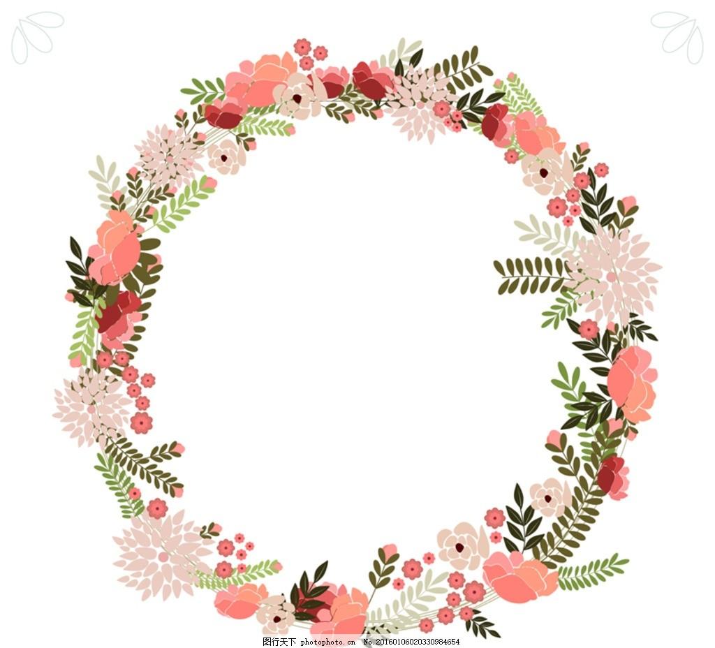 素雅花卉圆环矢量素材 花边 花纹 花朵 简约花纹 韩式花纹 漂亮花纹图片