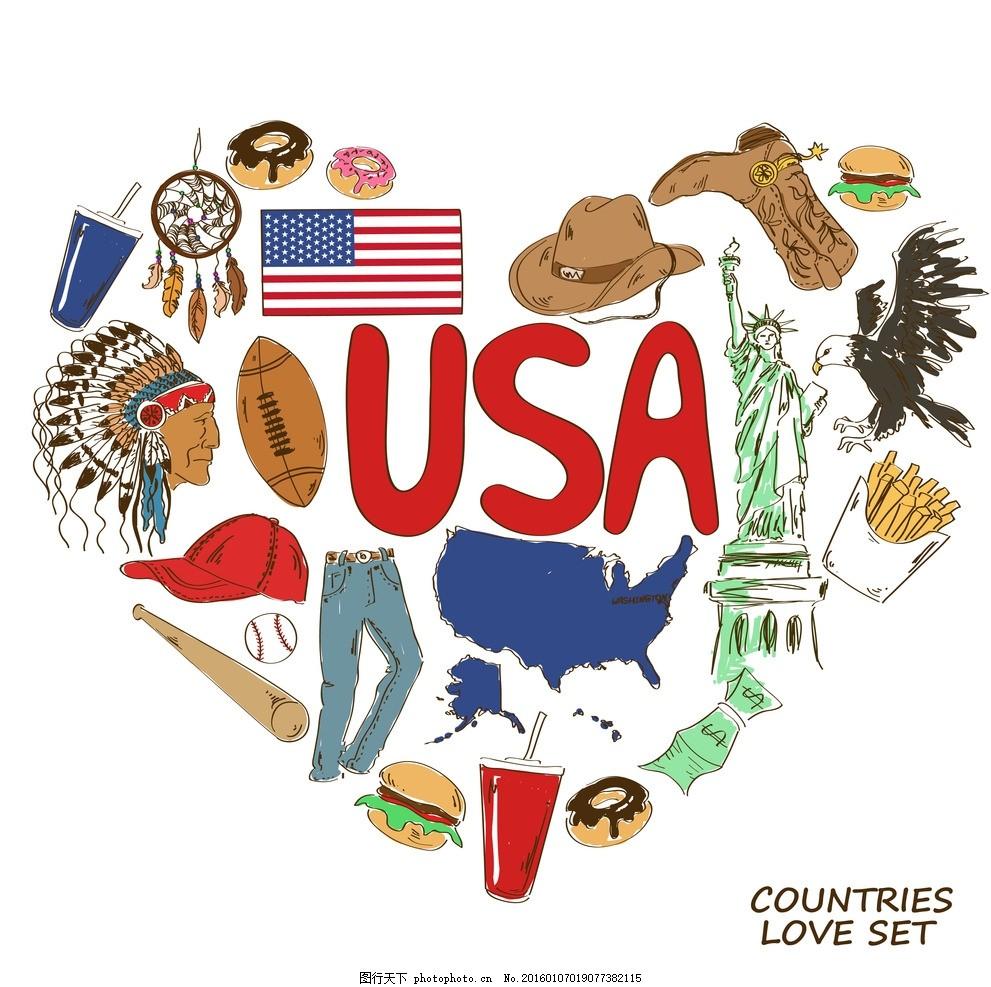 美国国家元素 国家象征 国家图标 手绘 矢量 设计素材库