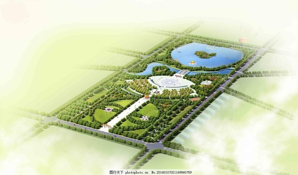 鸟瞰图 公园 古建筑 园林景观 喷泉 效果图 雕塑 广场