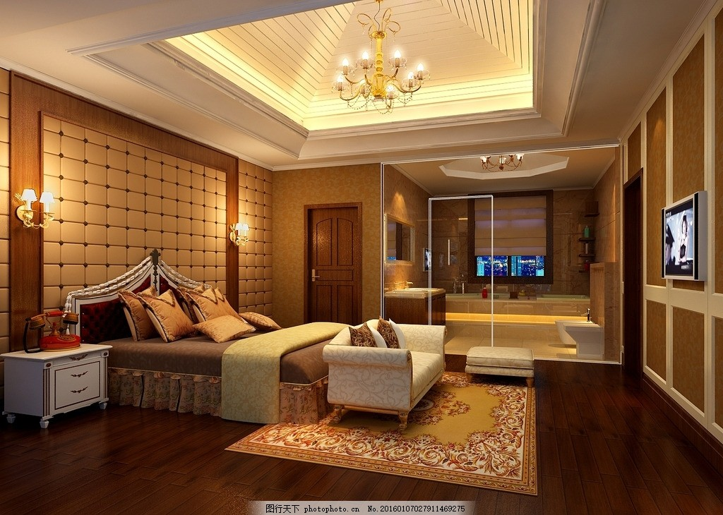 卧室设计 卧室装修 卧室天花 卧室灯光 卧室墙饰 床榻 卧室电视 植物