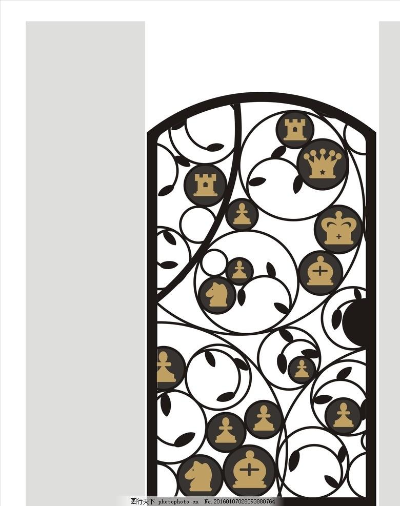 铁艺门 矢量图 单扇门 单扇铁艺门 欧式铁艺门 创意门