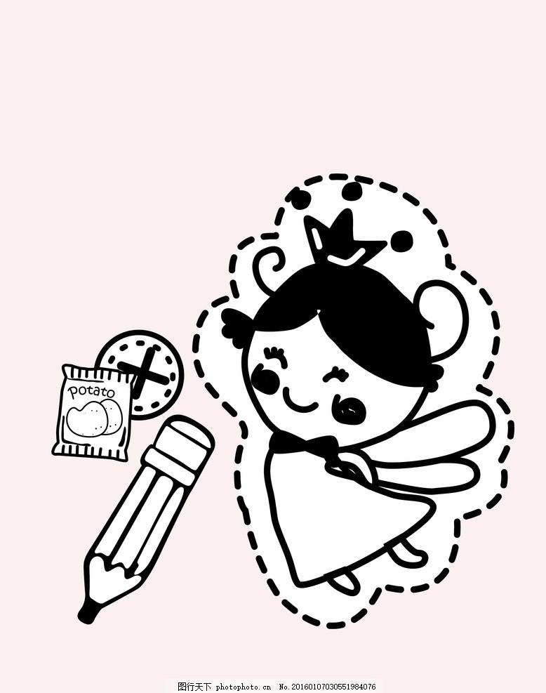 矢量卡通女孩印花图案 卡通小姑娘 铅笔 数码印花 童装 服装印花