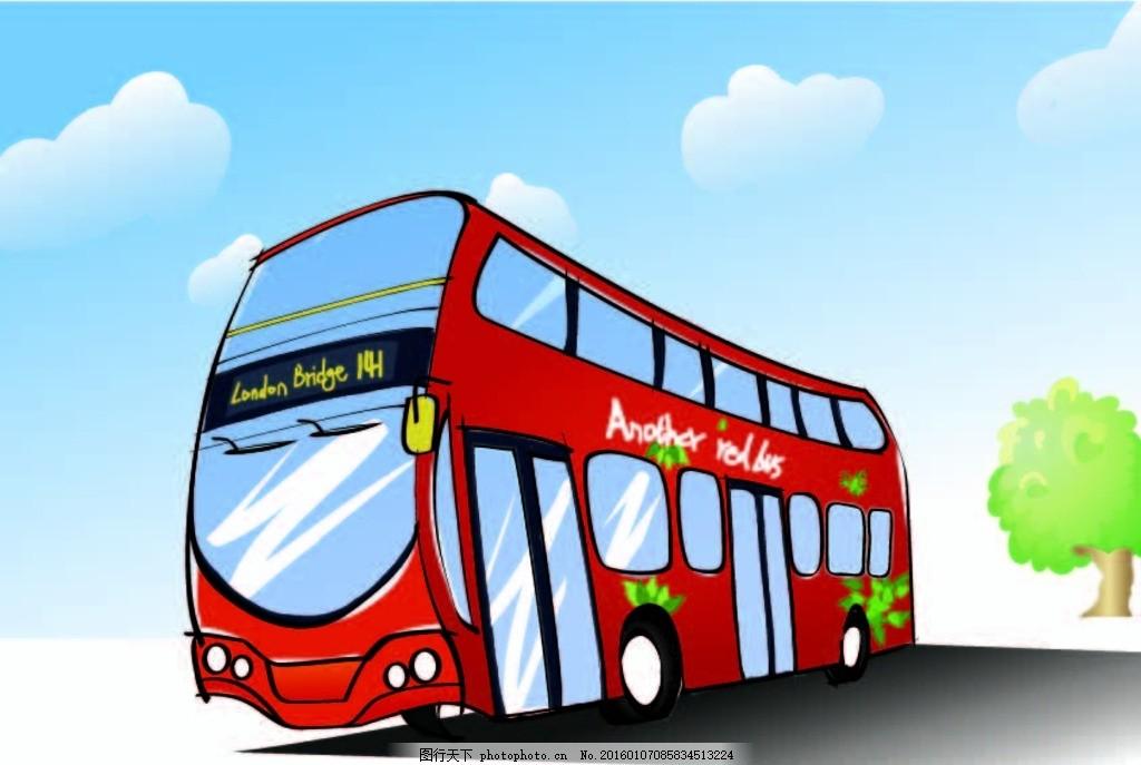 伦敦红色车 红色车 观光巴士 公交车 观光车 蓝天白云 矢量图 手绘