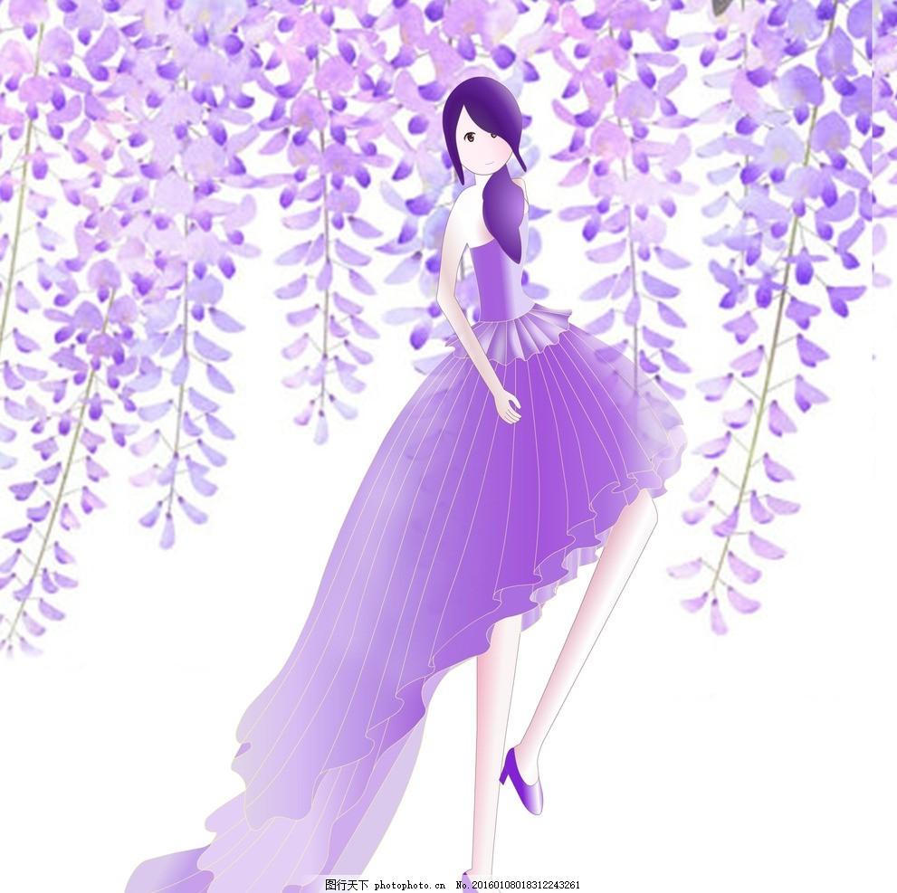 紫藤花人物 梦幻 场景 紫色 动漫动画