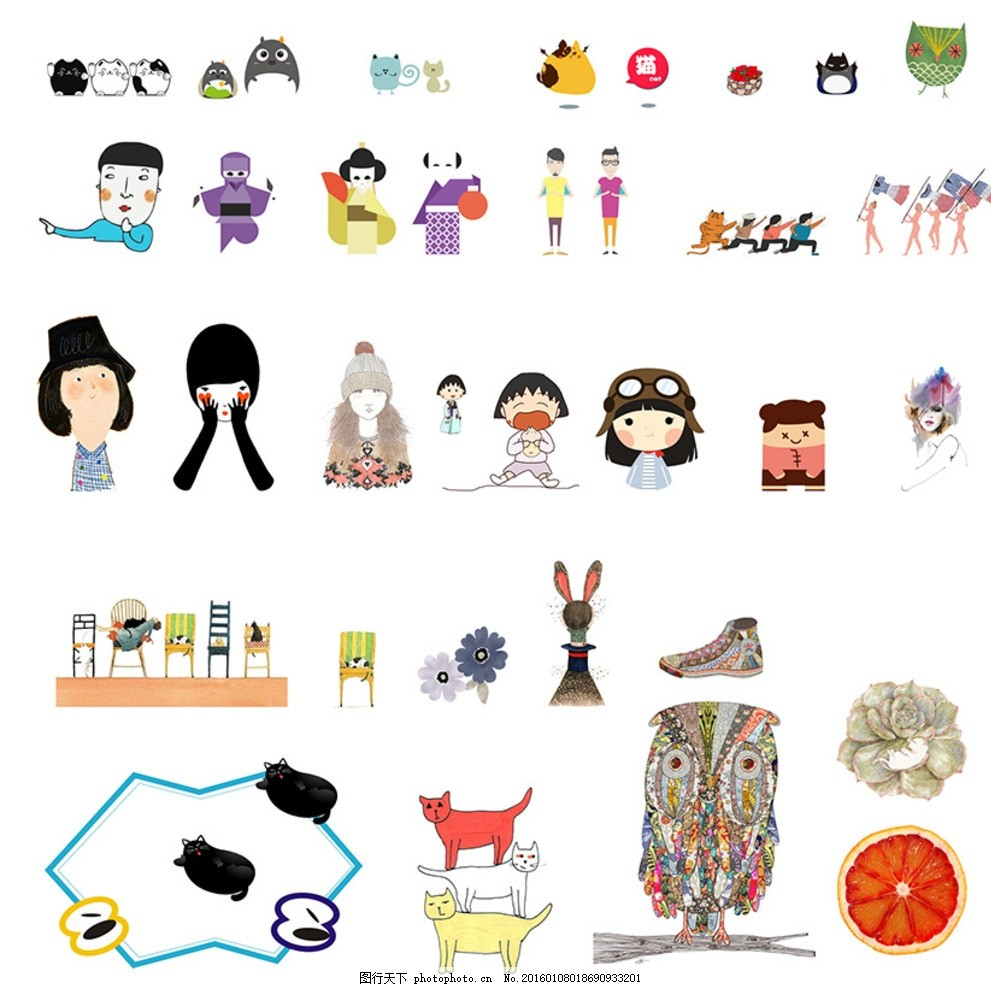 卡通插画 装饰图标 日本漫画 可爱招财猫 宫崎骏龙猫 蝙蝠 篮子草莓