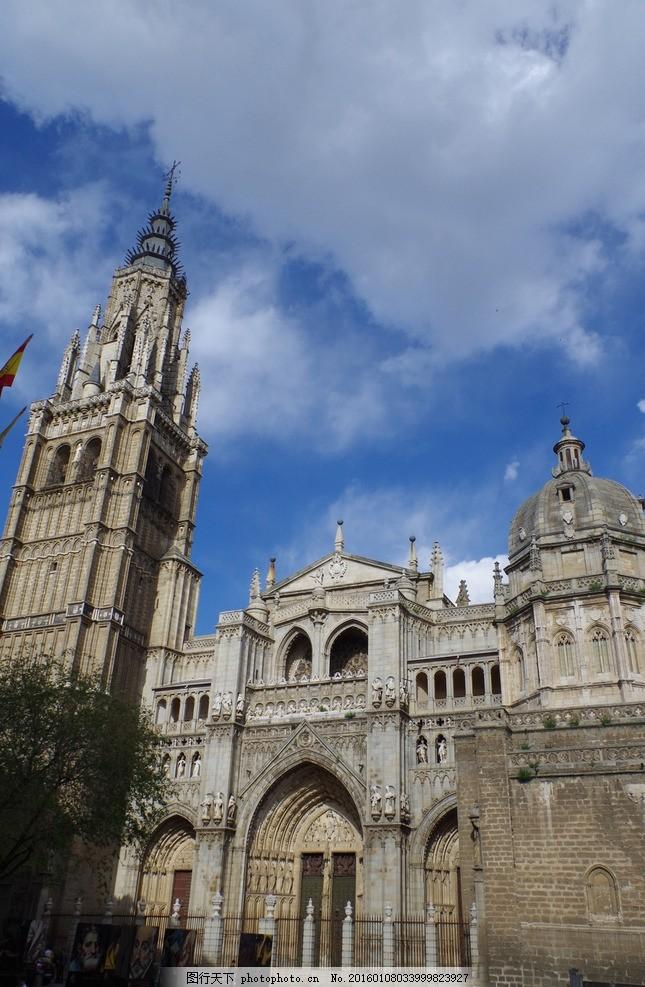 西班牙 风景 建筑 欧式 穹顶 雕塑 教堂 复古 摄影 国外旅游