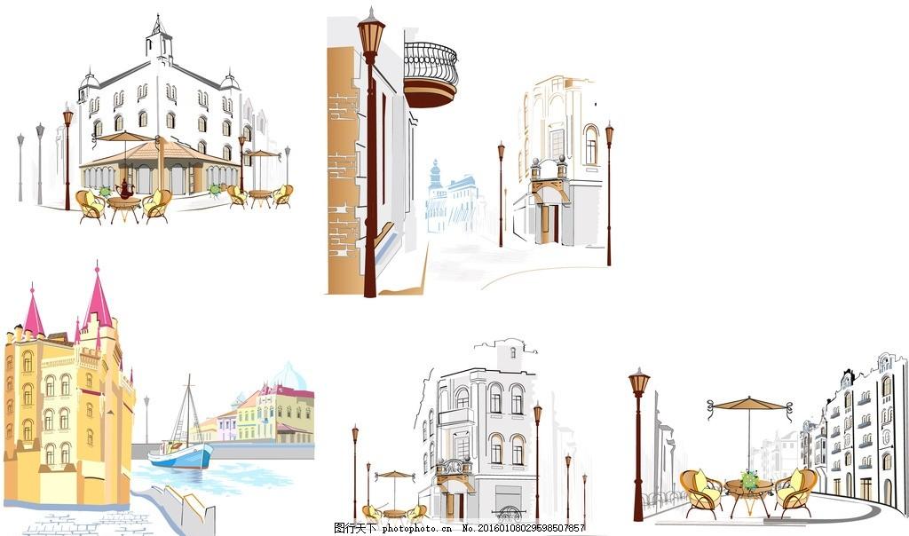 手绘城市惬意生活街角建筑物