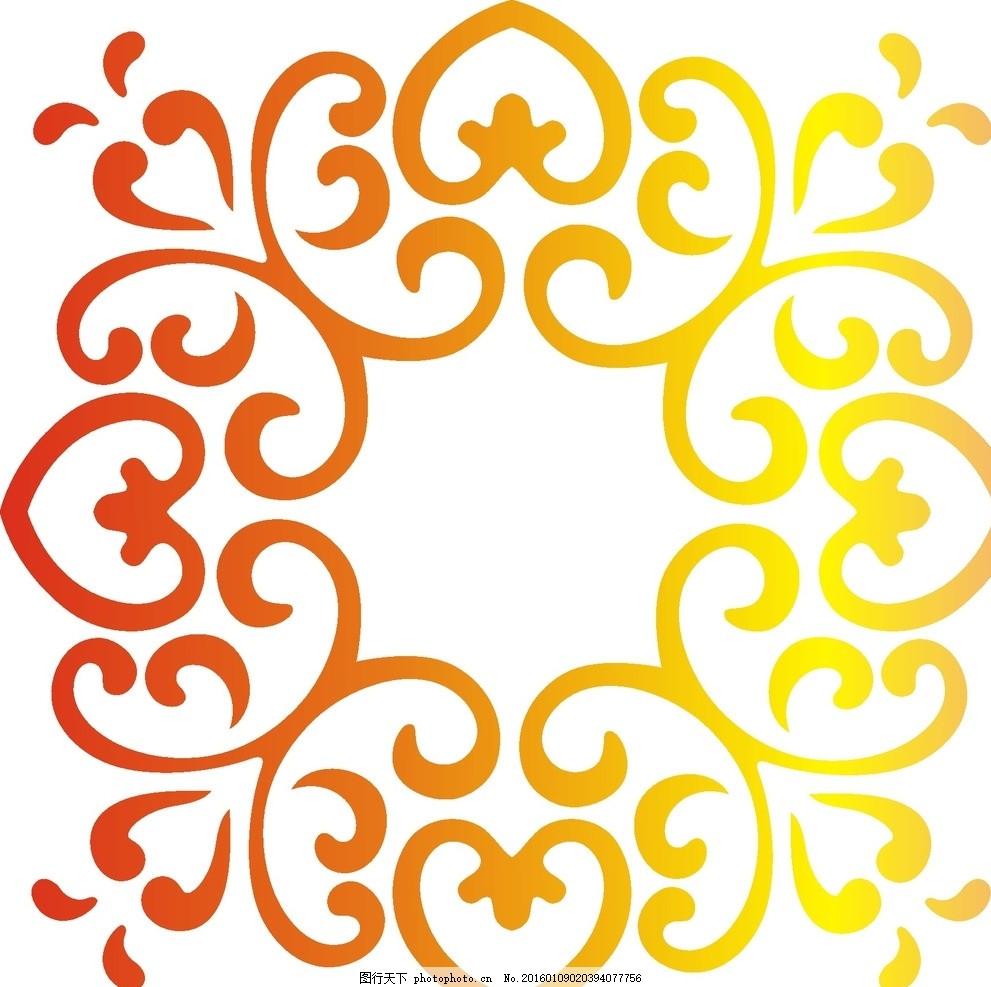 对称欧式花纹 矢量图 简笔画
