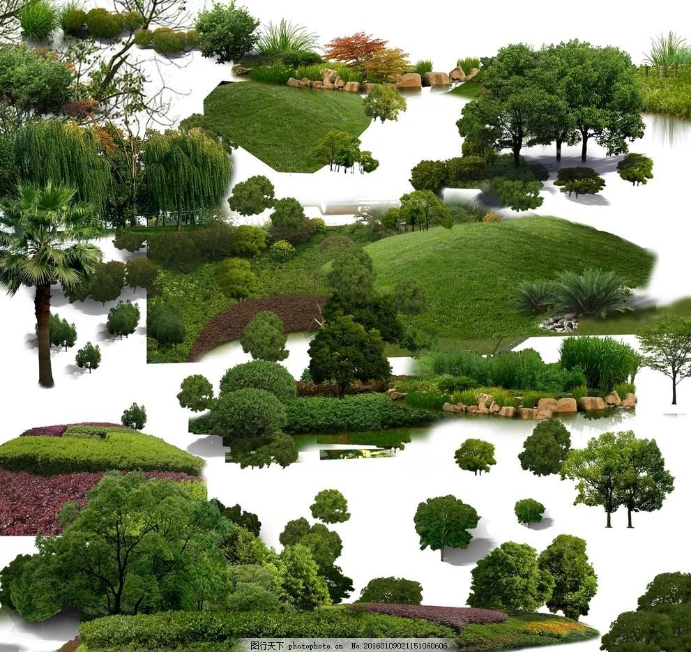 鸟瞰树山坡 后期素材 灌木 花草 写实 树木 植物 近景 绿篱