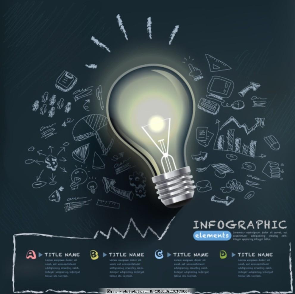 创意灯泡手绘商务信息图矢量素材 思维导图 背景