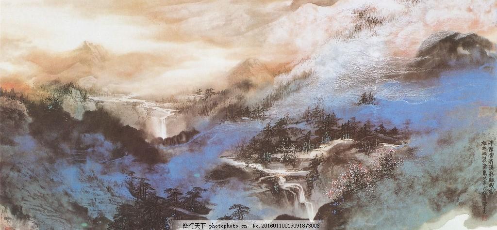 陈亮山水画 陈亮 艺娃艺术 国画 写意 重彩 山水 泼彩 大气 意境 世外