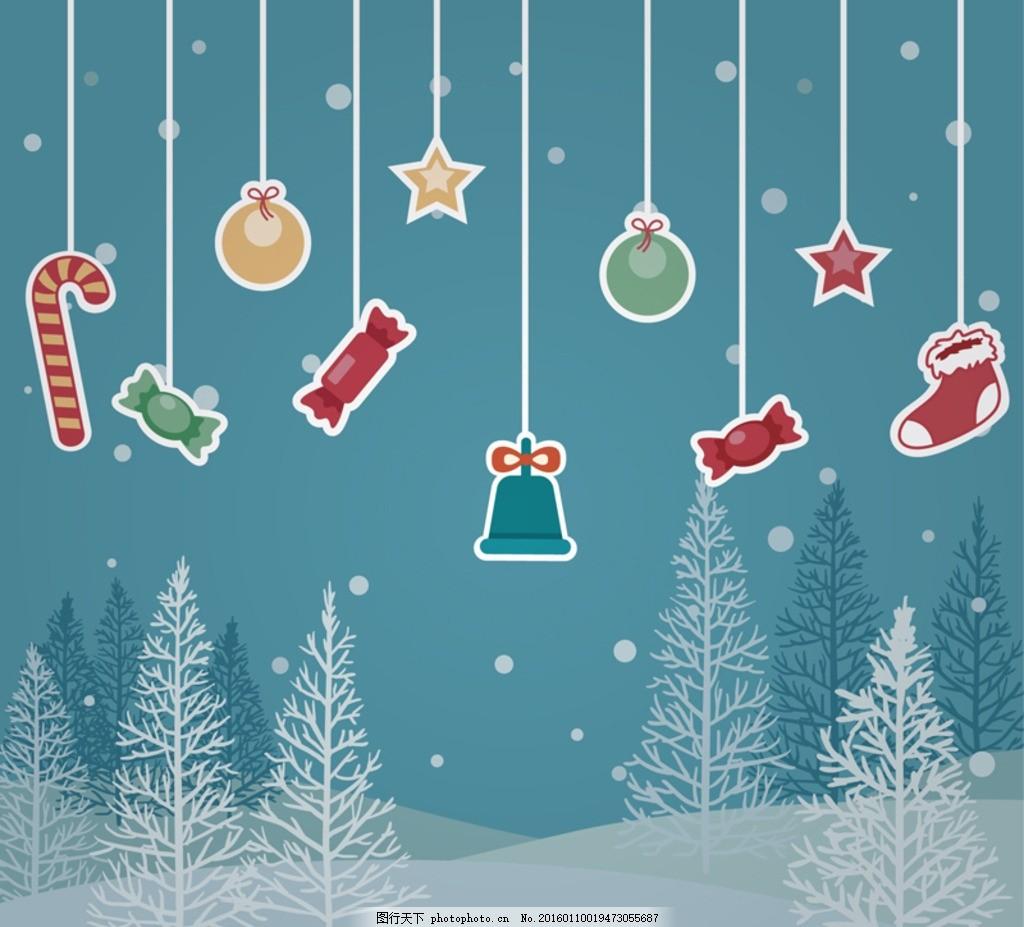圣诞节 挂饰 吊饰 拐棍糖 糖果 星星 铃铛 圣诞袜 袜子 树木 大树