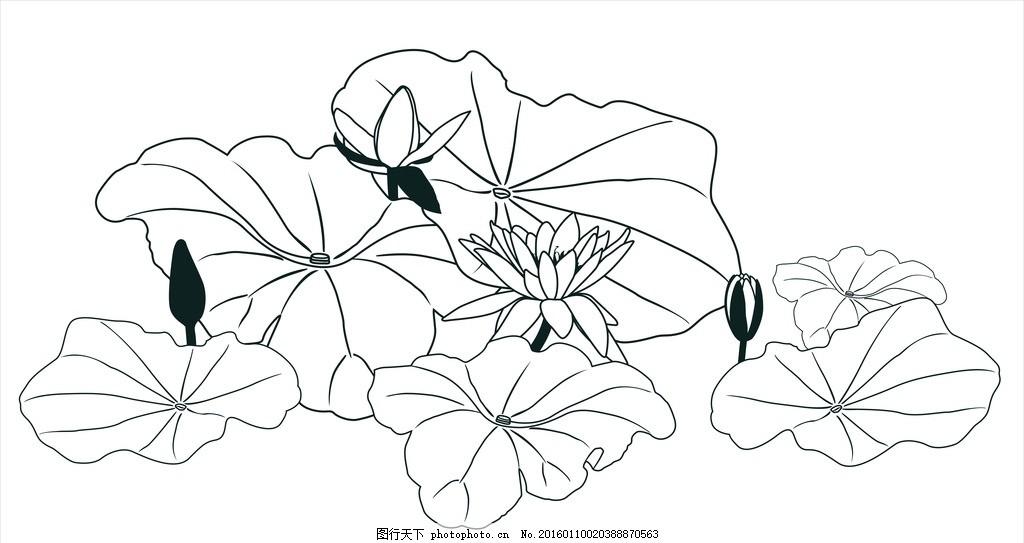 中国 画 手绘 莲花 荷 叶 睡莲 荷花 cdr 矢量图 设计 底纹边框 花边