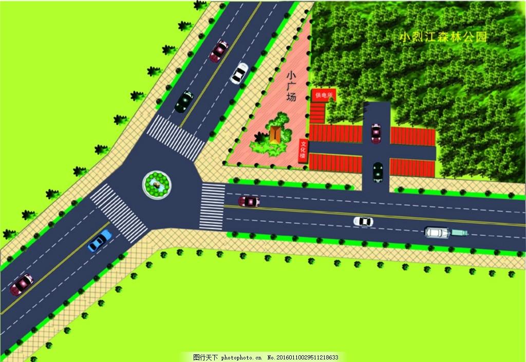 平面图 公园平面图 汽车 花园 公路 小公园 草坪 山林平面图
