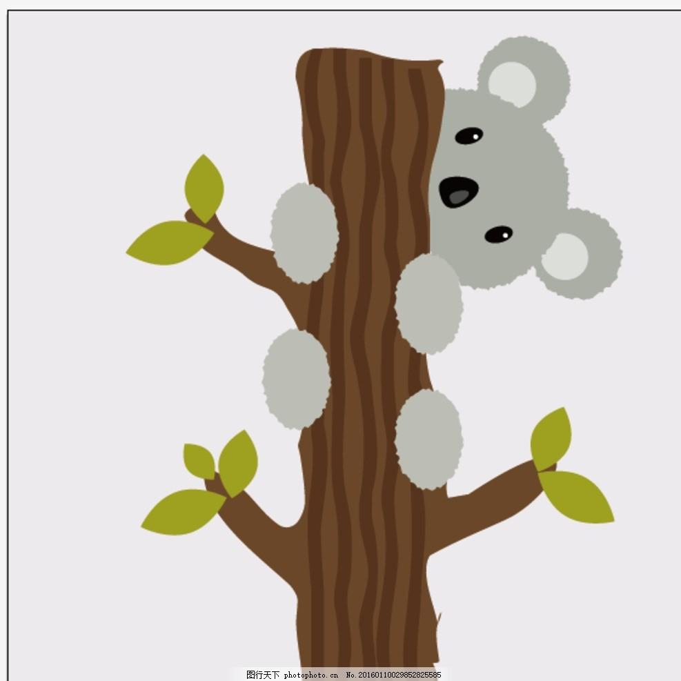 考拉 爬树 爬树的考拉 可爱的 动物 矢量 设计 广告设计 卡通设计 ai