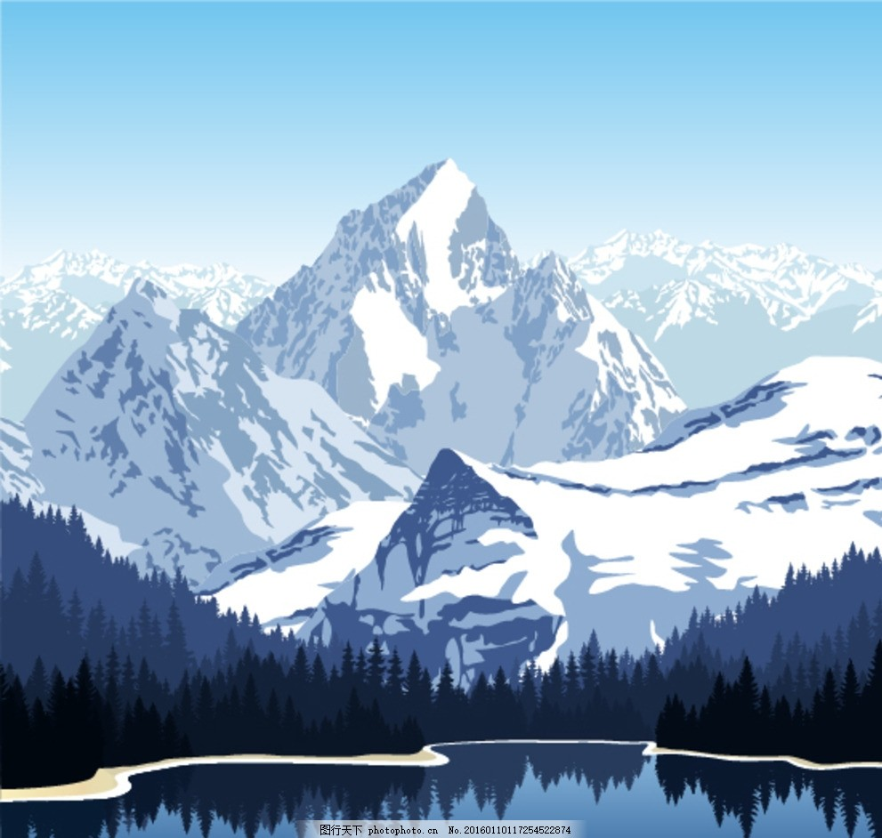 山峰 山峦 雪山 湖泊 远山 卡通背景 漫画 矢量 自然风景 自然景观