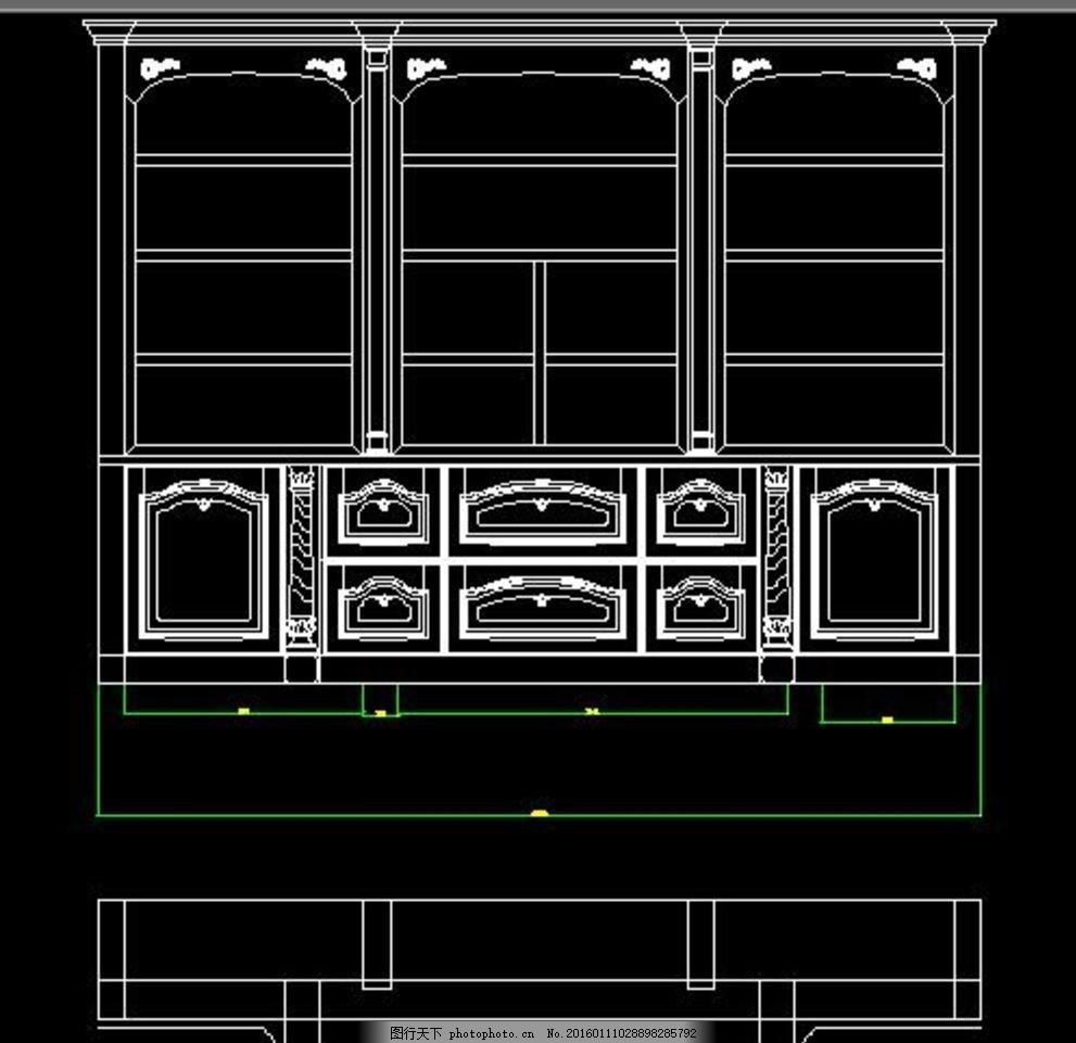 cad图纸 室内设计 施工图纸 书柜平面图 3d书柜 书柜图纸 书柜立面图