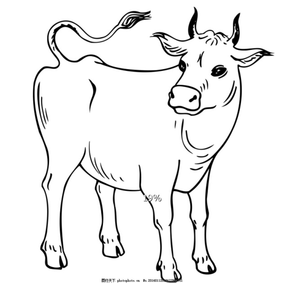 手绘卡通 卡通手绘 线稿 牛 侧面 可上色 动漫动画