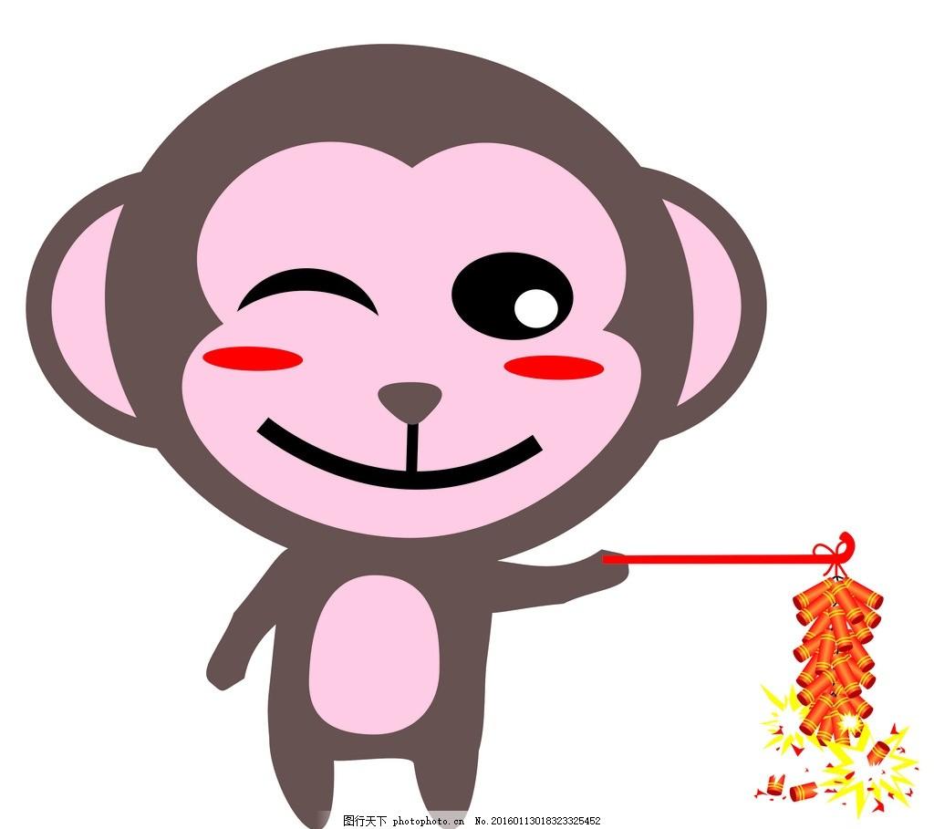开心 猴 放鞭炮 喜庆 过年 卡通 棕 红 卡通 设计 动漫动画 动漫人物