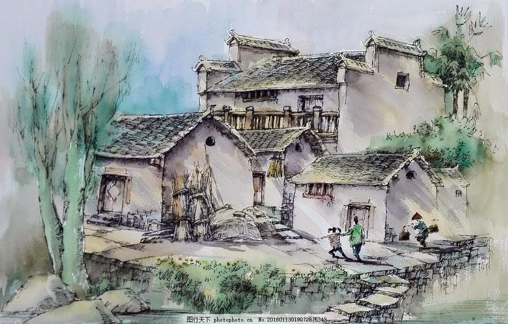 水彩风景 房屋 美术 绘画 村庄 风景画