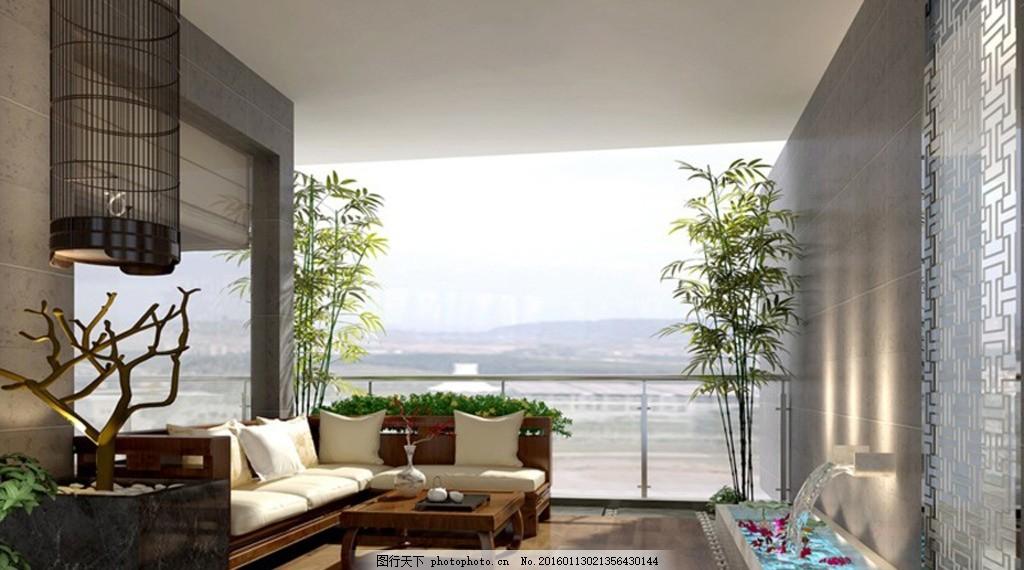阳台入户花园中式休闲区 阳台 空中花园 阳光 植物 中式 休闲 户外 3d图片