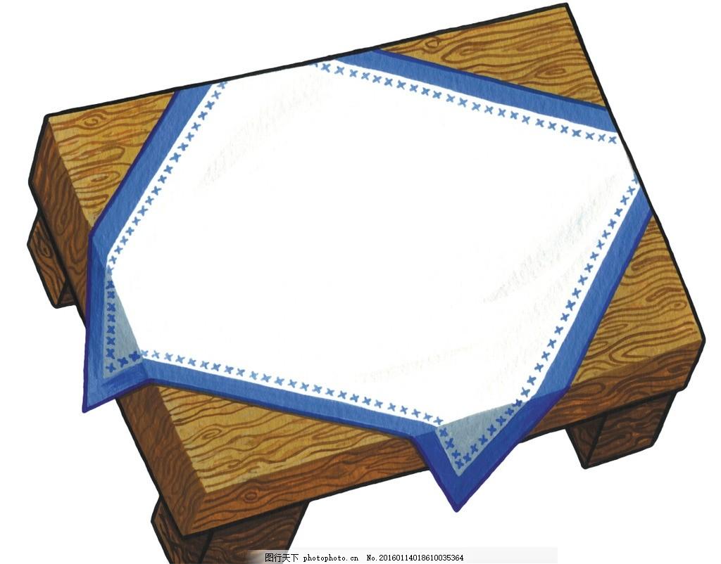 手绘卡通 卡通手绘 古代 木质家具 桌子 桌单 格格 正面 线稿 可上色