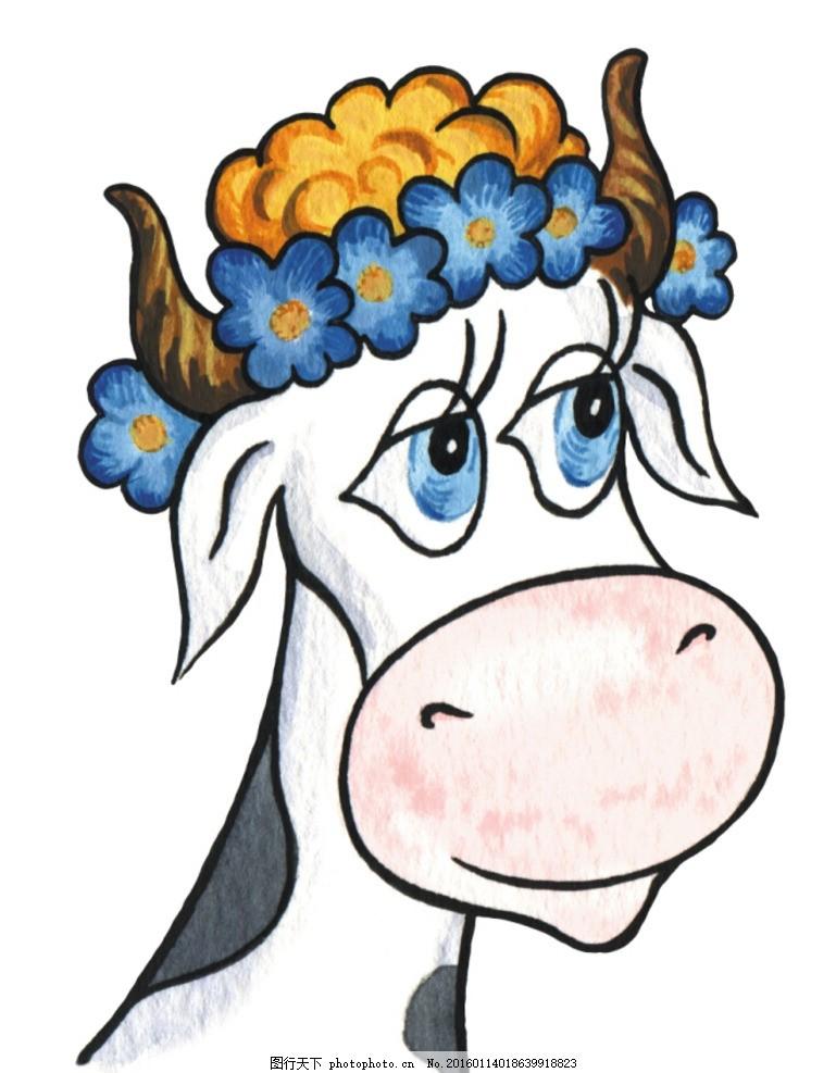 手绘卡通 卡通手绘 奶牛 可爱 头发 线稿 可上色 动漫动画 动漫动画
