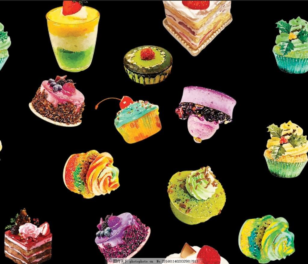 蛋糕甜点 蛋糕 甜点 手绘 矢量图 无缝接图 数码印花 设计 底纹边框
