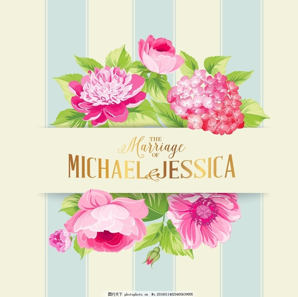 矢量婚礼手绘花卉卡片设计