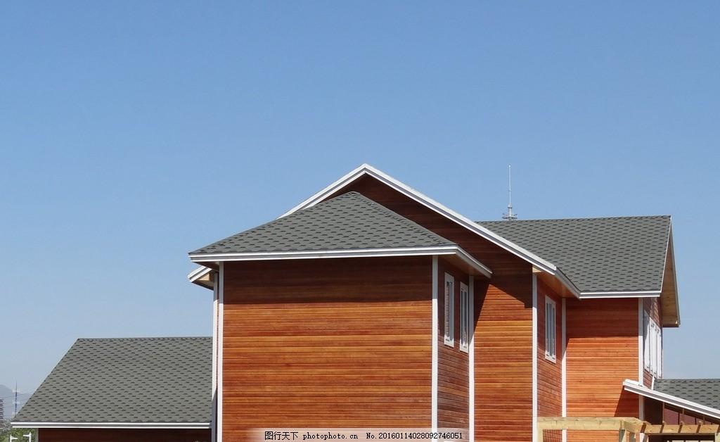 外墙木挂板 红 木质 木结构 别墅 摄影 建筑园林 建筑摄影