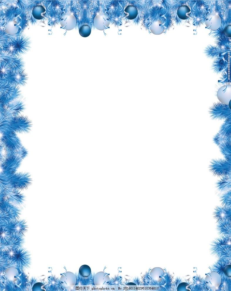 矢量花纹 抽象花草 花卉花纹 圣诞边框 圣诞素材 圣诞节 蓝色边框