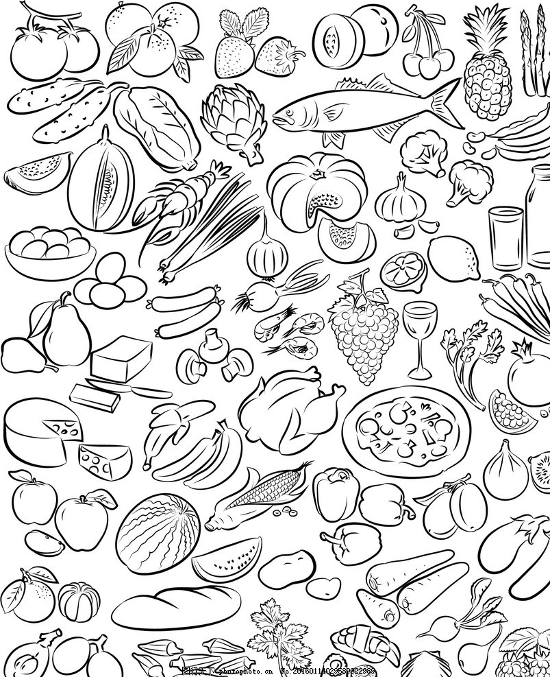手绘食材 手绘水果 新鲜水果 水果蔬菜 餐饮美食 蔬菜水果 生物世界