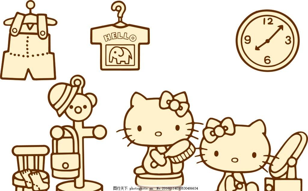卡通猫宝宝 矢量图 雕刻线条图 硅藻泥花式 硅藻泥花式素材