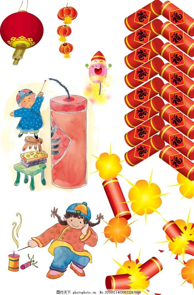 小孩 古代 灯笼 红灯笼 节日素材 喜庆 鞭炮素材 红色鞭炮 婚庆 春节