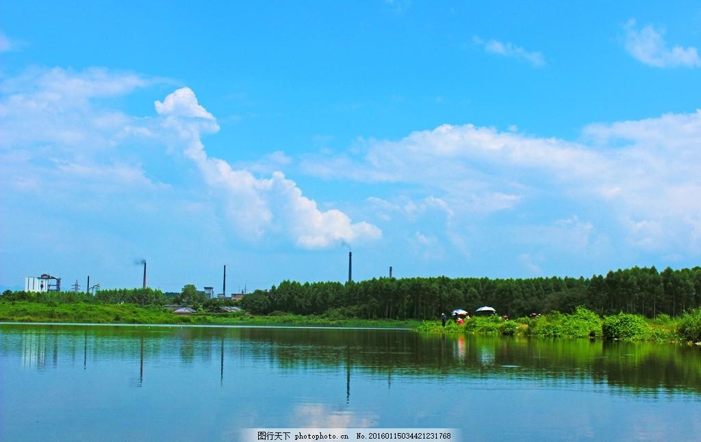 蓝天森林倒影 山水 山水风光 山水素材 山水倒影 蓝天白云 白云 蓝天