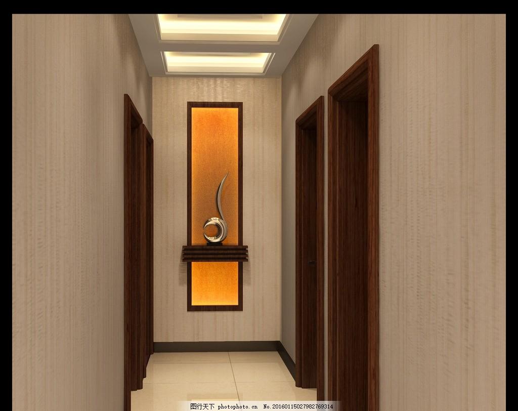 室内效果图 过道吊顶 地砖 过道背景 门 简约 原创设计