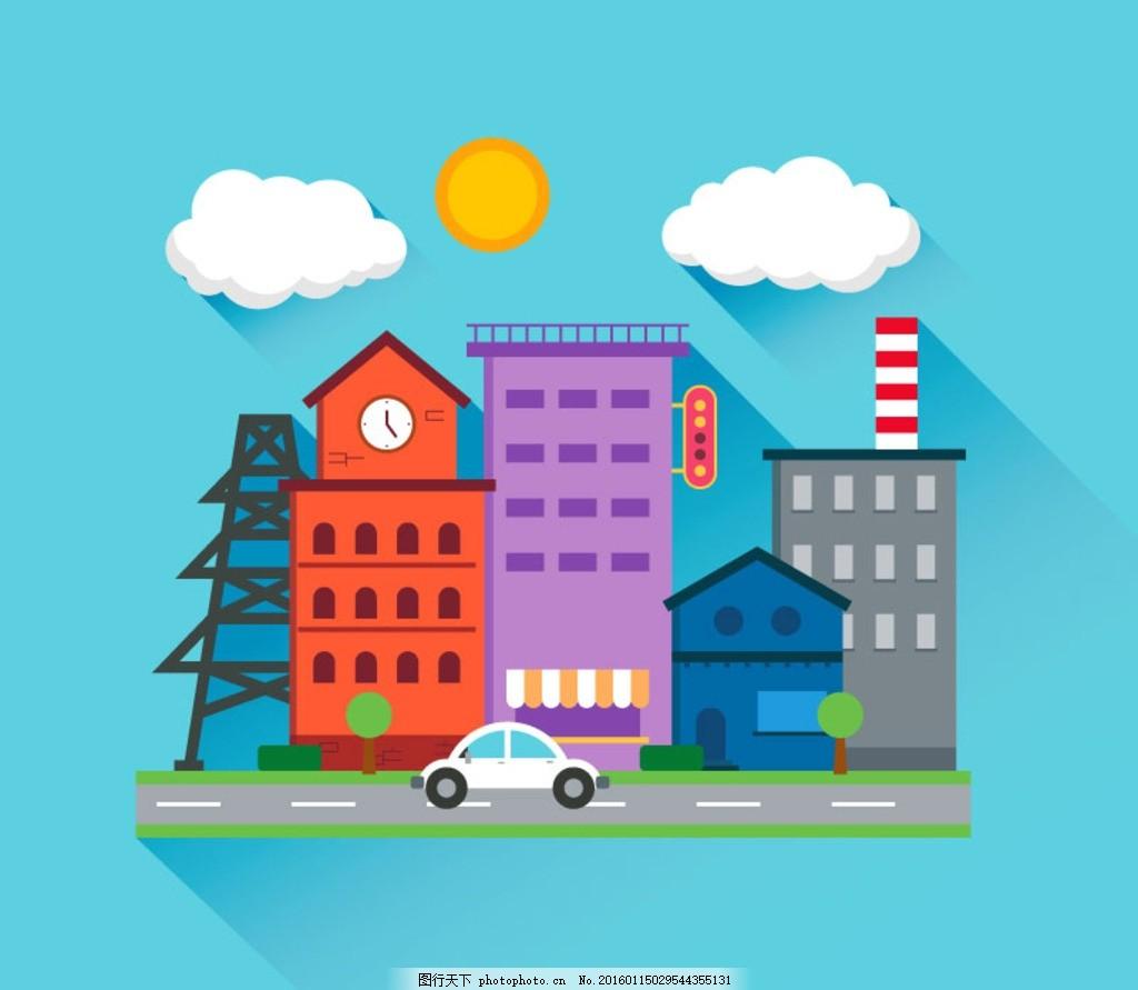 楼房 手绘 梦幻 建筑素材 矢量线条 线条建筑 手绘建筑 建筑卡通 卡通