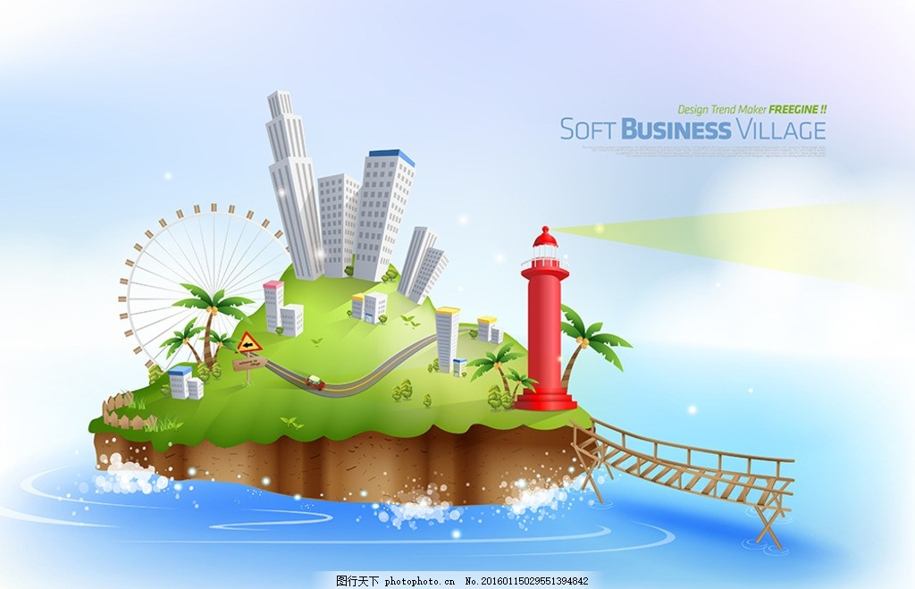 环境 天空 商业城 区域 创意3d 楼房 网络 楼 高层 广告背景 创意3d